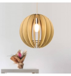 Round modern wood pendant light - Gengis