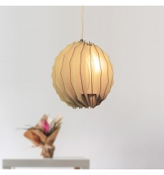 Irregular spherical wood pendant light - Lhasa