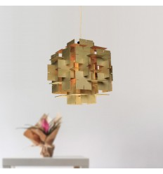 Wooden pendant lamp interlocked squared design - Formose