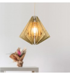 Elegant lantern-shaped wooden pendant light - Nabi