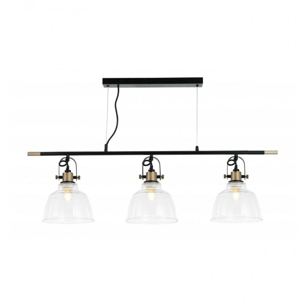Pendant Light With Three Transparent Bell Shaped Lamps Omsk