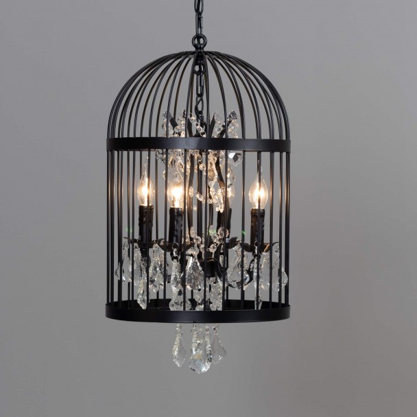 Vintage Chandelier With Black Bird Cage