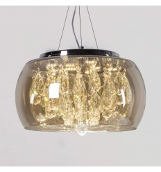 Pendant light with round glass shade and crystal flowers - Eva