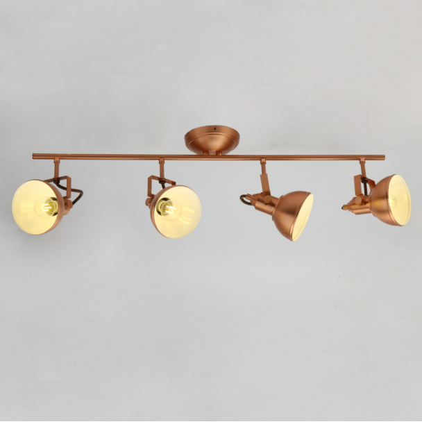 Retro Style Ceiling Fixture With Bronze Lamps Rosario