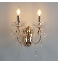 interior wall light two arms baroque tassels golden crystal - Pavia