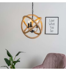 Industrial rope pendant light - Adele