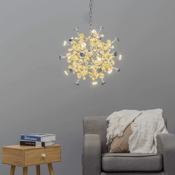 Eco Friendly Minimalist LED Branch Chandeliers 9 Light 27W LED Ambinet Light Glass Sphere Chandeliers for Dining Room Living Room