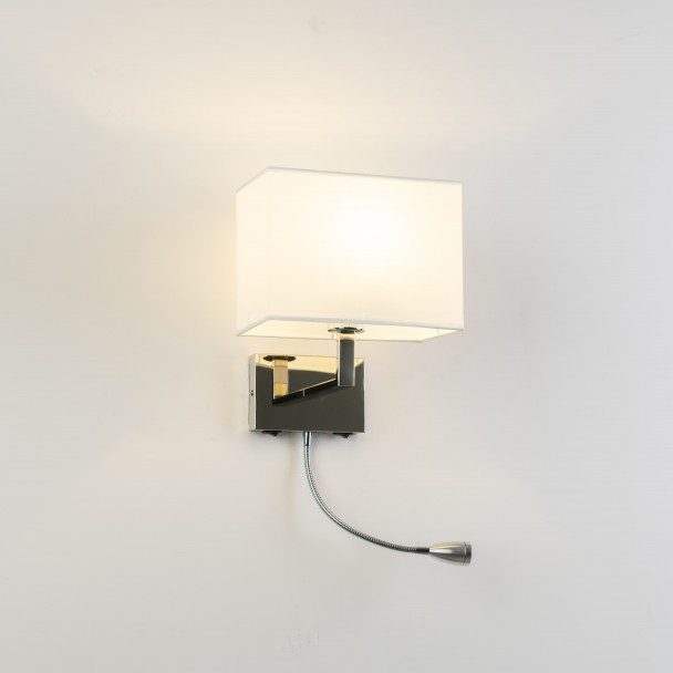 Modern wall luminaire in steel with shade cloth - Kayla