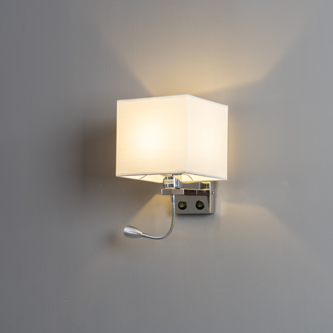 Square Shaped Wall Mounted Reading Light With Fabric Shade Hedder
