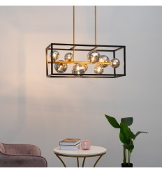 Modern pendant light with smoked glass spheres - Qez