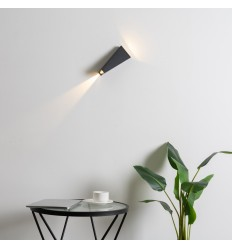 LED wall light in black with double beams - Helsinki