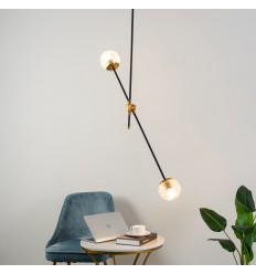 Chic hanging light in 2 glass balls - Yoni