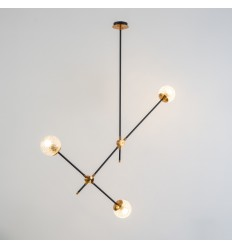 Minimalist hanging light with 2 black metal rods - Yoni