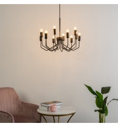 Chandelier in black metal with loft design - Walz