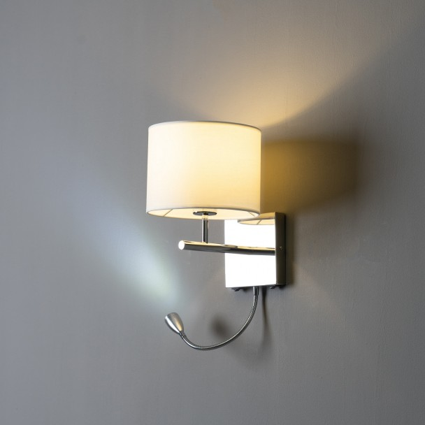 Contemporary Wall Mounted Reading Light Made Of Chrome And Fabric Winter