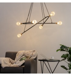 Modern Suspension 6 lights on 2 curved arms - Celeste