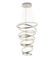 Large silver LED spiral pendant light - Tornado