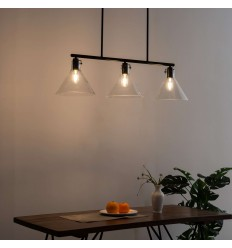 triple cone pendant light transparent and black glasses - Novara