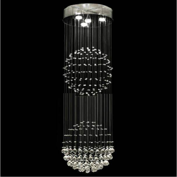 Big Ceiling light crystal 1.70m chrome 2 spheres Norway
