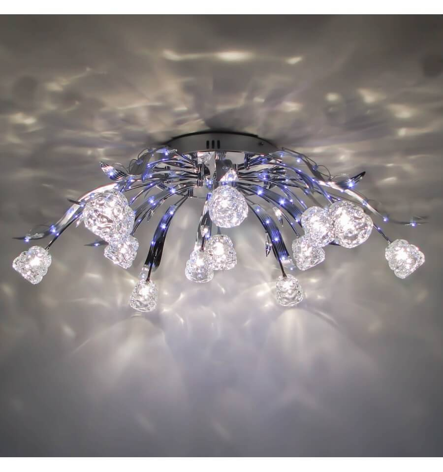 Crystal ceiling light blue led tulips kosilight ceiling light design blue led tulipe 80cm aloadofball