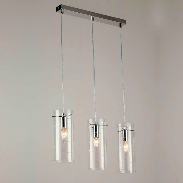 Pendant light - design tube glass multiple triple (E14) Edell
