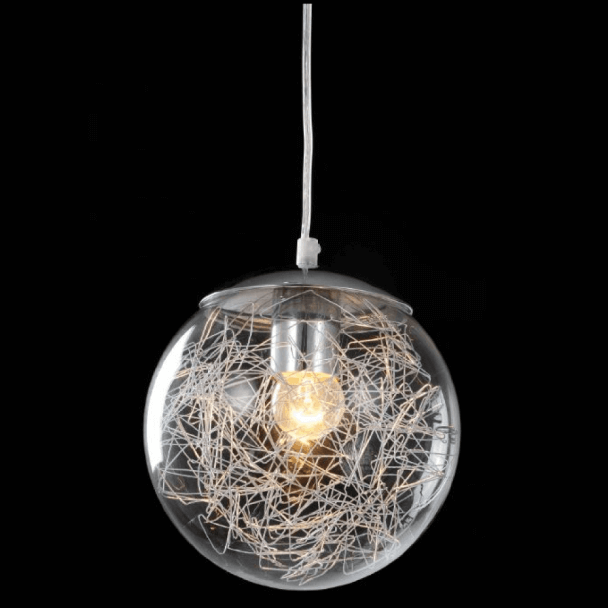 Pendant light - design sphere transparent glass Elba