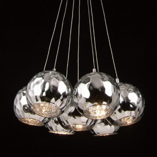 Pendant light - chrome 7 spheres+ bulb G4
