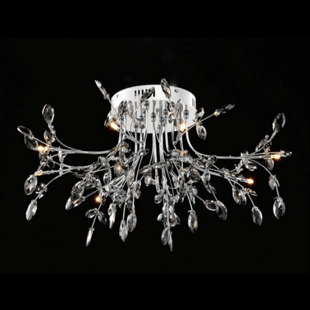 Crystal Ceiling Light Chrome Quot Leaves Quot Kosilight