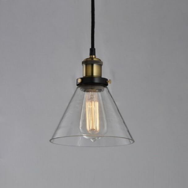 Pendant light - conical transparent glass and bronze - Dallas