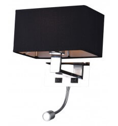 Wall light/Reading light- design metal fabric black Adonis