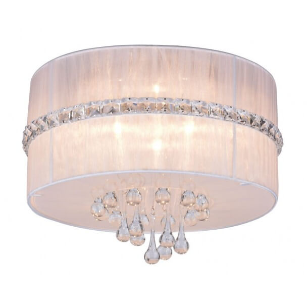 Ceiling light - design round fabric white Milena