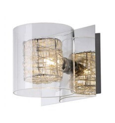 Wall light - vertical circle chrome transparent glass