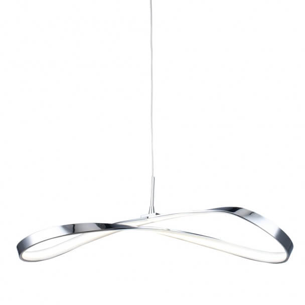 Pendant light - design LED chromed infinite ribbon (13 W) - Acht