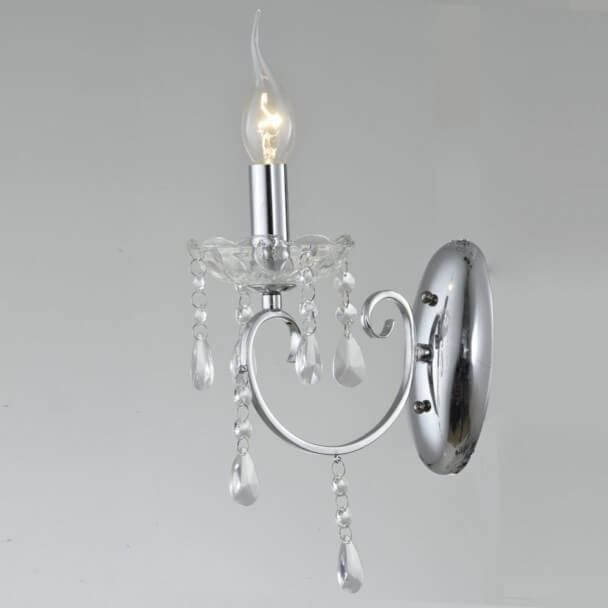 Wall light - crystal baroque with Pendant silver - Pavia