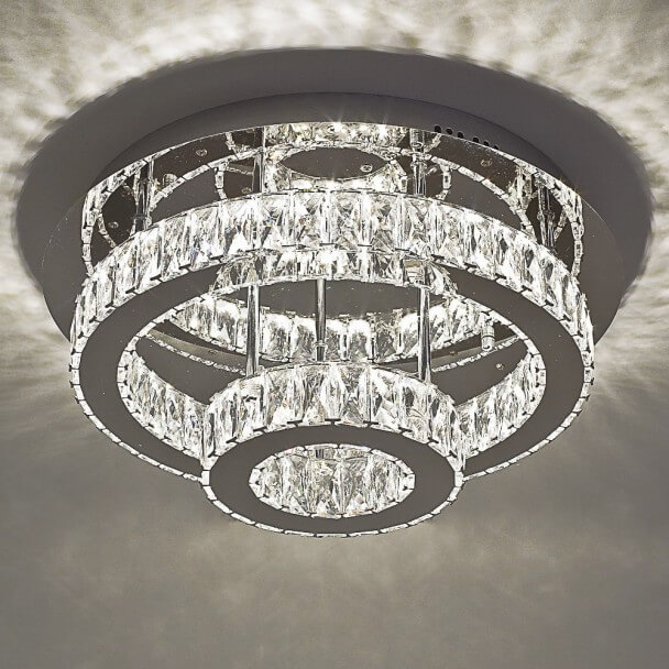 Ceiling light - LED crystal 2 circles design - Diez