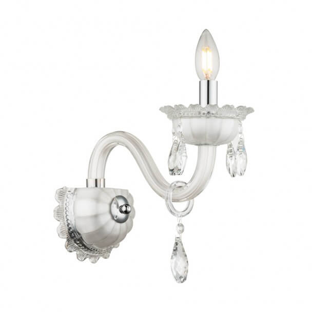 Wall light - crystal baroque with Pendant white - Roma