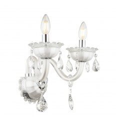 Wall light 2 lights crystal baroque with Pendant white - Roma