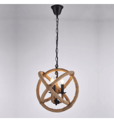 Industrial Pendant Light with Hemp Rope - Adele