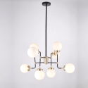 Industrial Gold Pendant Light 8 Lights - Milky White Glass Zenith