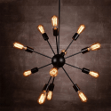 black metal chandelier for living - Kapella
