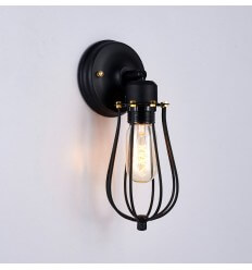 Retro Industrial Black Cage Wall Light - Velen