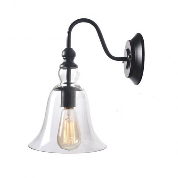 Wall Light with Bell Glass Shade - Vera