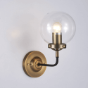 Retro Industrial Gold Wall Light - Clear Glass Zenith