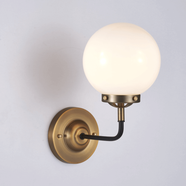Retro Industrial Gold Wall Light - Milky White Glass Zenith