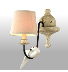 Wall Light with White Resin Bird - Colombe
