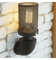 Cylindrical Wall Light with Rusty Water Pipe Base - Athiel
