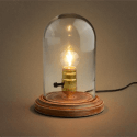 Clear Glass Dome Table Lamp with Wooden Base - Clodia