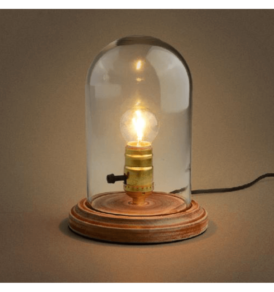 Clear Glass Dome Table Lamp With Wooden Base   Clodia