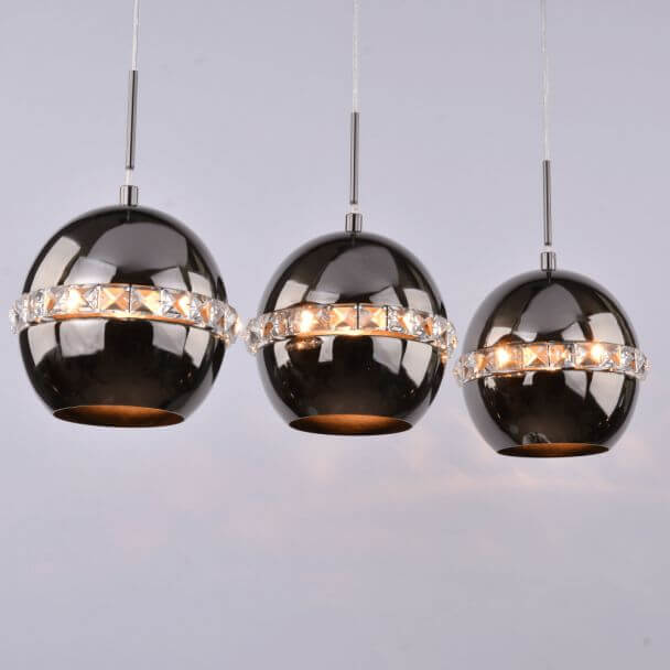 Pendant light triple design black and crystal - Diadema