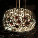 Glass Pendant Light LED with purple stones - Flora